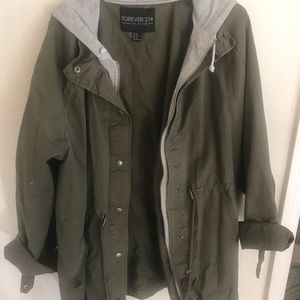 Forever 21 Olive Green Anorak Jacket Size 2X