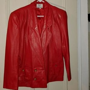 Tannery West Red Leather Blazer