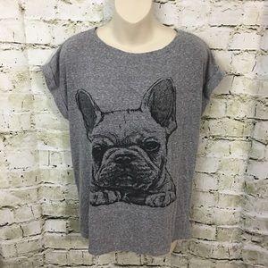 Forever 21 French Bulldog Oversized Graphic Shirt