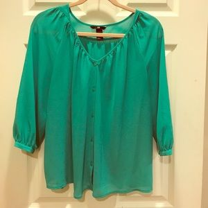H&M Green Button Blouse