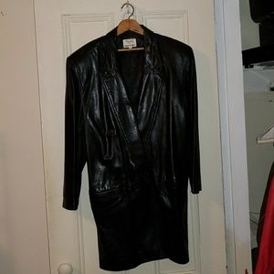 Double-breasted Leather 3/4 Jacket