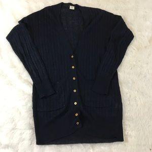 J Crew cable knit linen navy cardigan XXS runs big