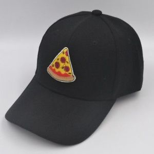 Pizza Embroidered Black Baseball Cap