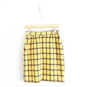 Vintage Union Made Yellow Plaid Pencil Skirt