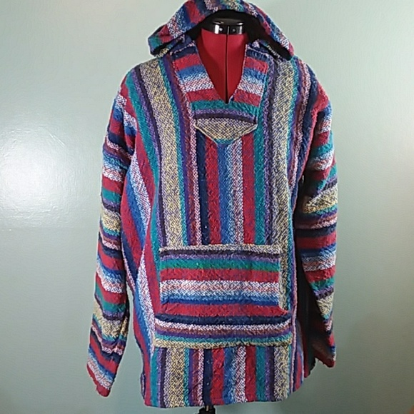 ▼$36 Mexican Baja Hoodie Pullover Surf Poncho Hip