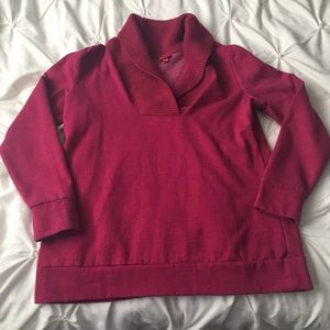 Merona Maroon Ribbed V Neck Sweatshirt Long Sleeve