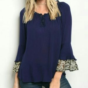 Tops - JUST IN! Navy lace blouse with bell sleeves.