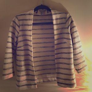 Striped white and grey Blazer