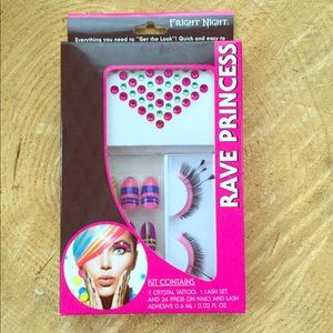 Rave princess nails, eyes and glitter sticker set