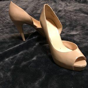 Nine West Nude Patent Leather Peep Toe