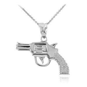 Solid White Gold Revolver Pistol Gun Pendant