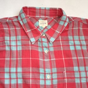 J. Crew Factory Plaid gauze popover shirt large