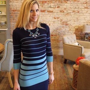 Tops - Navy Blue Stripe Long Sleeve Tunic Top