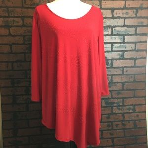 Raggs II Riches Red Sequin/Embellished Blouse 3X