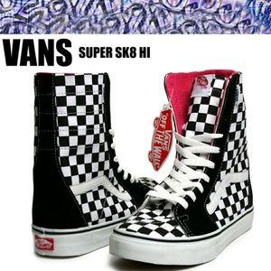 vans super sk8 hi checkerboard