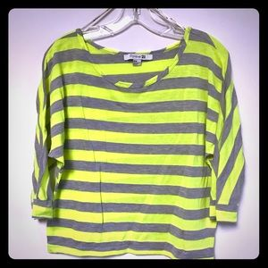Lime green and Grey Striped Top