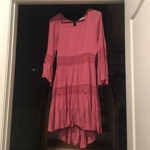 Pink hi-low bohemian dress