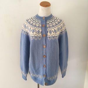 Vintage Norwegian Style Cardigan Sweater