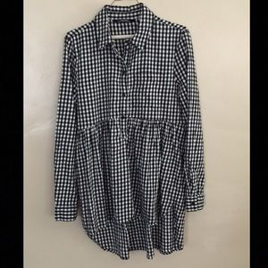 Zara Woman Plaid Tunic Top