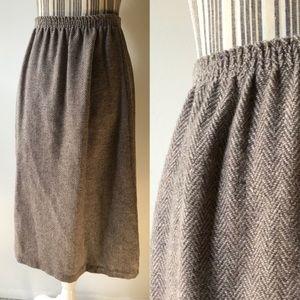 Wool herringbone a-line skirt