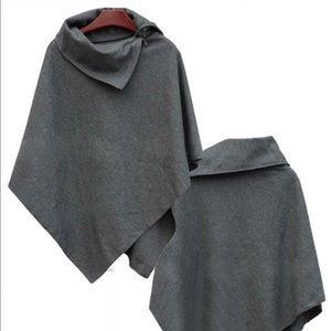 Jackets & Blazers - Gray Fleece Poncho Cape Jacket Shaw