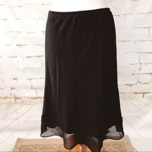 Metaphor Black Midi Skirt With Bow Detail Size L