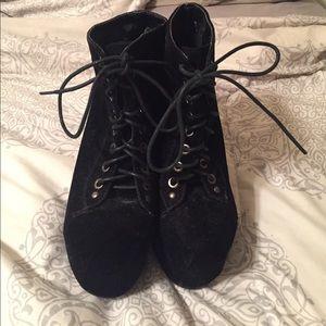 Black suede boot heels!