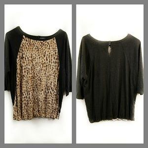 LOFT Ann Taylor  gray and brown  blouse