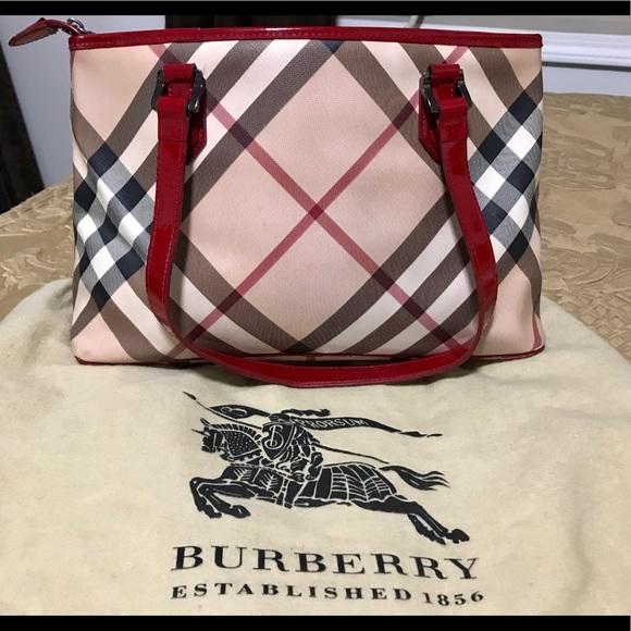 184c9ca8392 Burberry Handbags - Authentic Burberry Red Patent Supernova Check Tote
