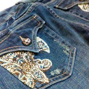 Miss Me Jeans - Miss Me w/ Bronze Rhinestones Fleur de Lis