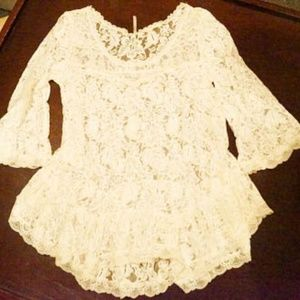 Free People White Lace Blouse