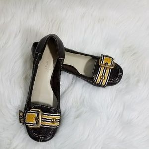 Nine West Slip On Flat Loafers with Yellow Buckle