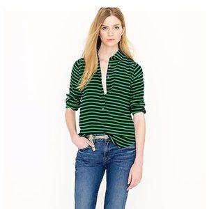J. Crew Green Striped Silk Pullover