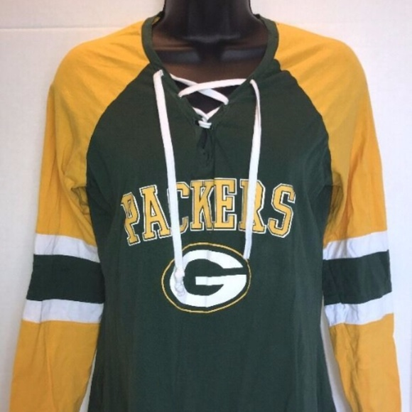 45ee4532a64 Majestic Tops | Green Bay Packers Laced V Neck Long Sleeve Jersey ...