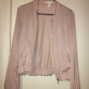 H&M bomber / blazer / cardigan pale pink. Silky.