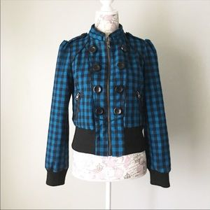 Blue and black checkered jacket