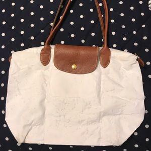 Authentic White Small Longchamp Le Pliage Tote