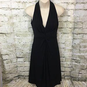 Muse Black A Line Knotted V Neck Dress