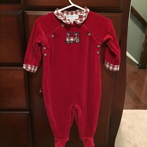 Janie and Jack red velour plaid with train onesie