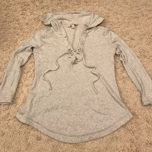 Banana Republic Gray Lace Up Hoodie