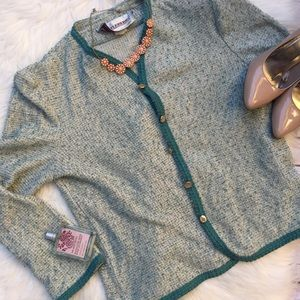 VTG Castleberry NY Tweed Button Cardigan Sz 16