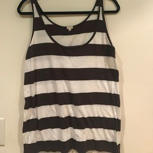 Brown and white stripped tank