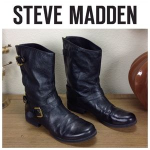 Steve Madden Black Leather Motorcycle Boot