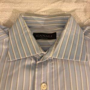 Canali Blue w/White Stripe French Cuff Shirt 16-35