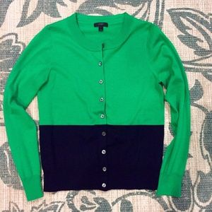J. CREW Tippi Cardigan in Navy/Green Colorblock