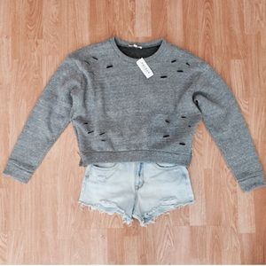 Pacsun destroyed cropped sweatshirt