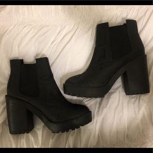 Black Block-Heel Booties