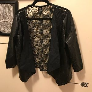 Leather suede short jacket with lace back