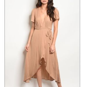 Nude Short sleeve satin wrap midi dress, New!