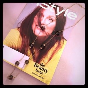 J.Crew Long Gold Chain Necklace with Brown Beads